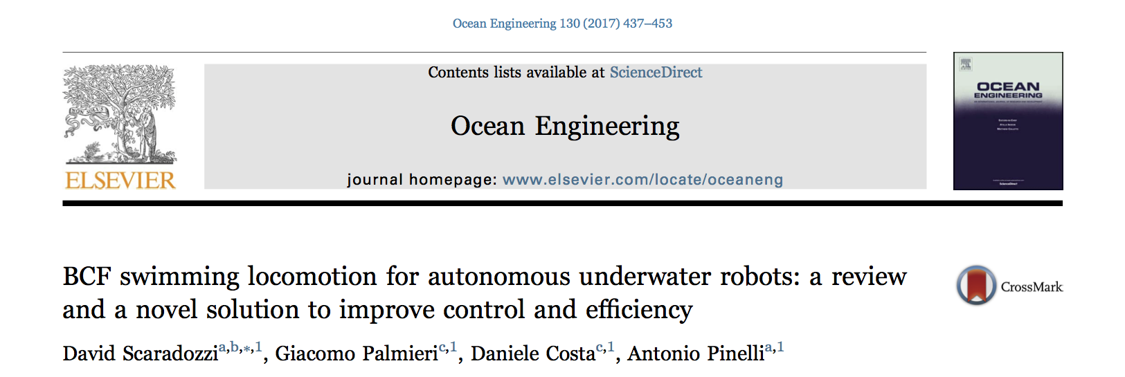 BCF swimming locomotion for autonomous underwater robots: a review and a novel solution to improve control and efficiency